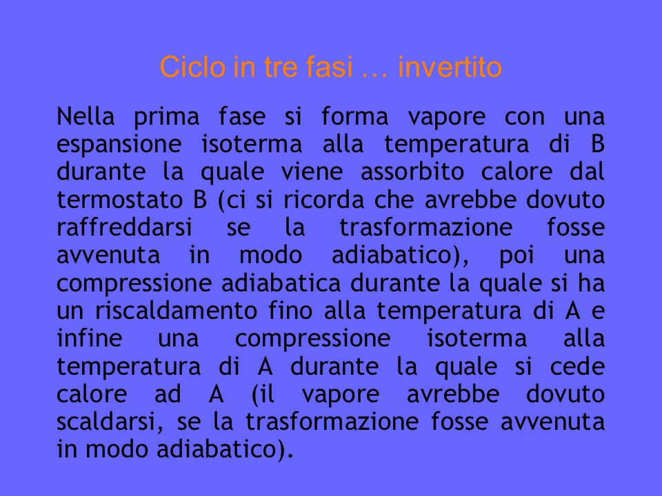 Ciclo in tre fasi … invertito