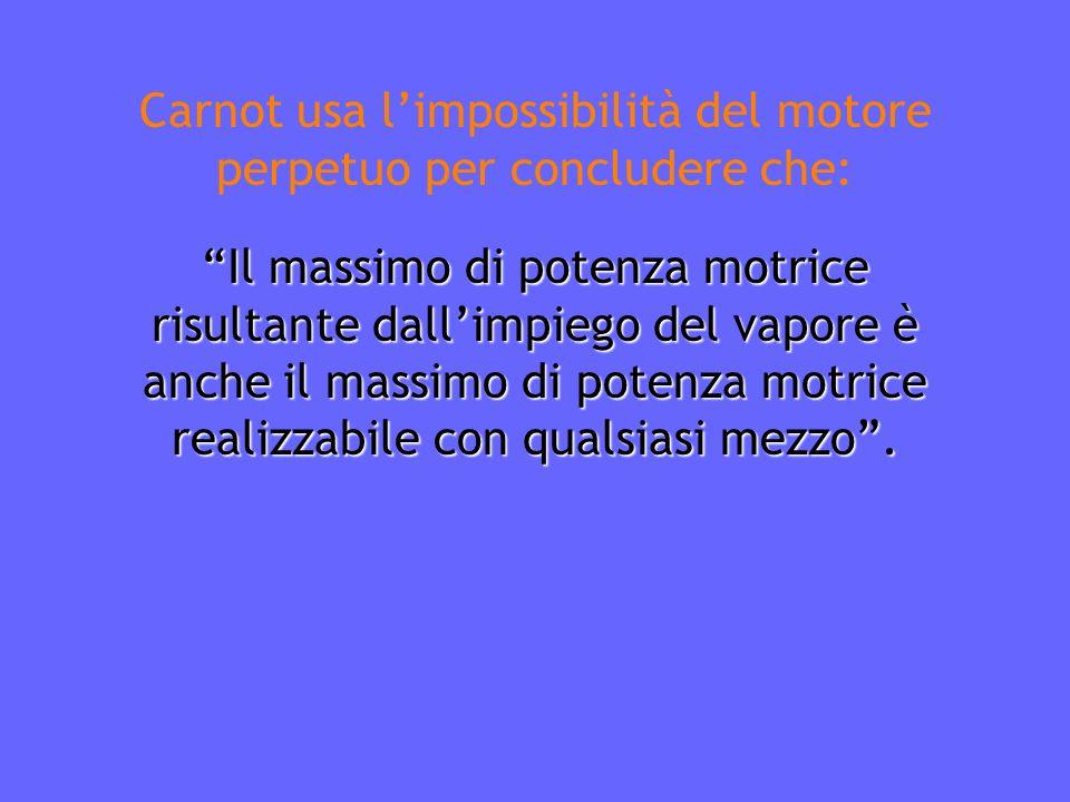 Carnot usa l'impossibilità del motore perpetuo per concludere che: