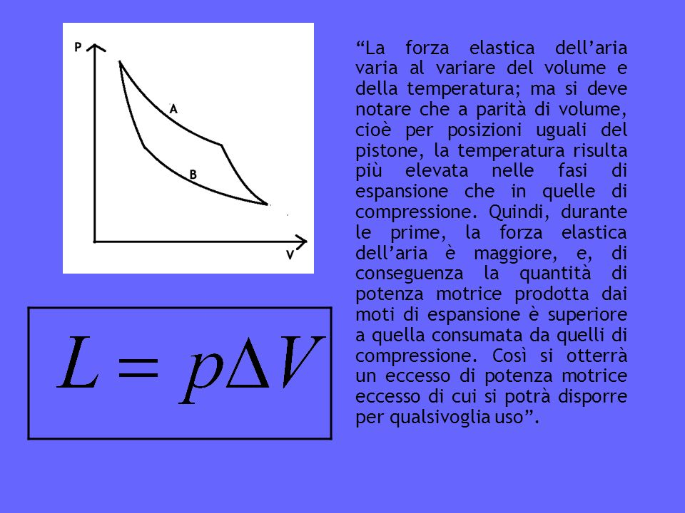 La forza elastica dell'aria varia al variare del volume e della temperatura; ma si deve notare che a parità di volume, cioè per posizioni uguali del pistone, la temperatura risulta più elevata nelle fasi di espansione che in quelle di compressione.
