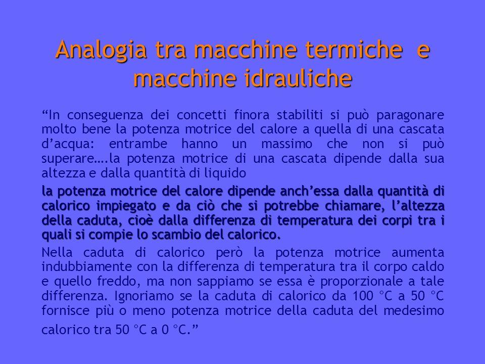 Analogia tra macchine termiche e macchine idrauliche