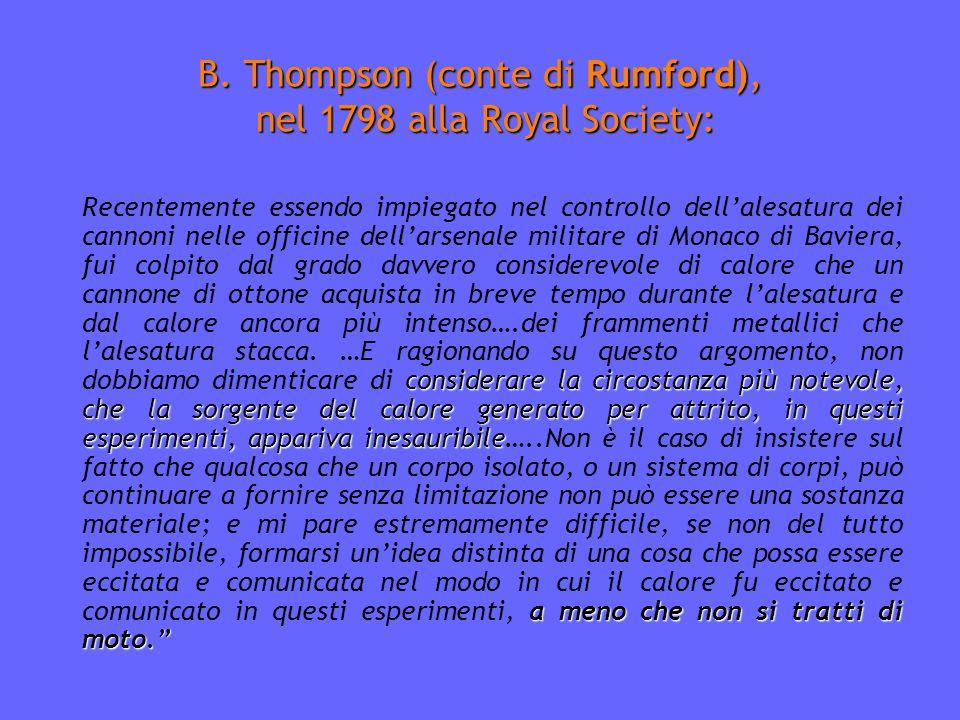 B. Thompson (conte di Rumford), nel 1798 alla Royal Society: