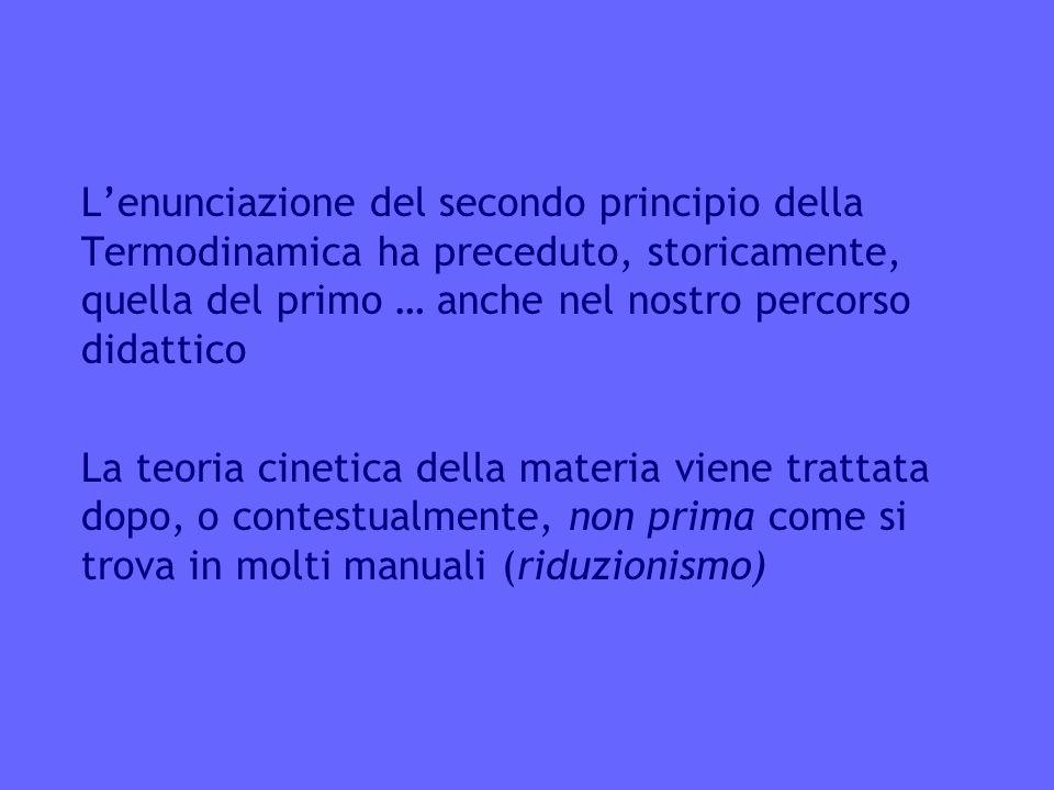 L'enunciazione del secondo principio della Termodinamica ha preceduto, storicamente, quella del primo … anche nel nostro percorso didattico