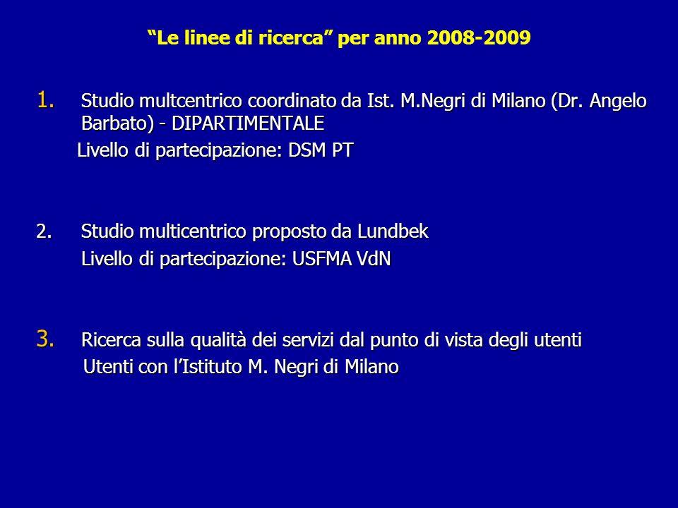 Le linee di ricerca per anno 2008-2009