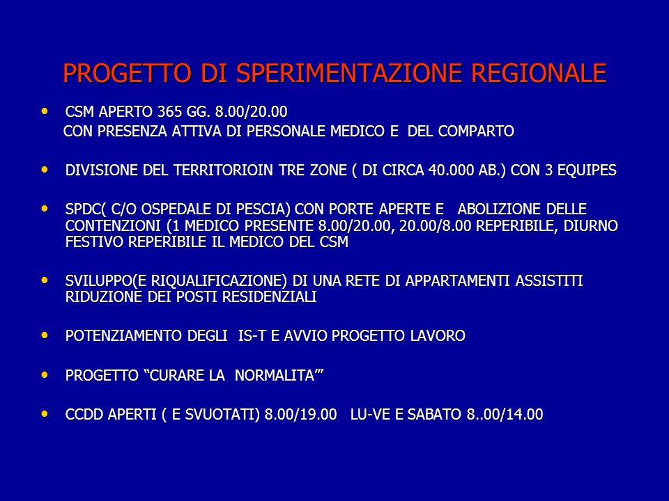 PROGETTO DI SPERIMENTAZIONE REGIONALE