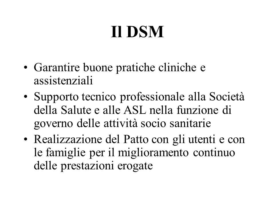 Il DSM Garantire buone pratiche cliniche e assistenziali