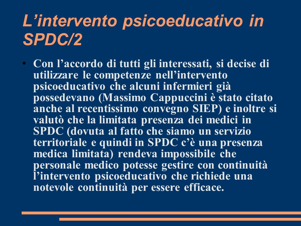 L'intervento psicoeducativo in SPDC/2
