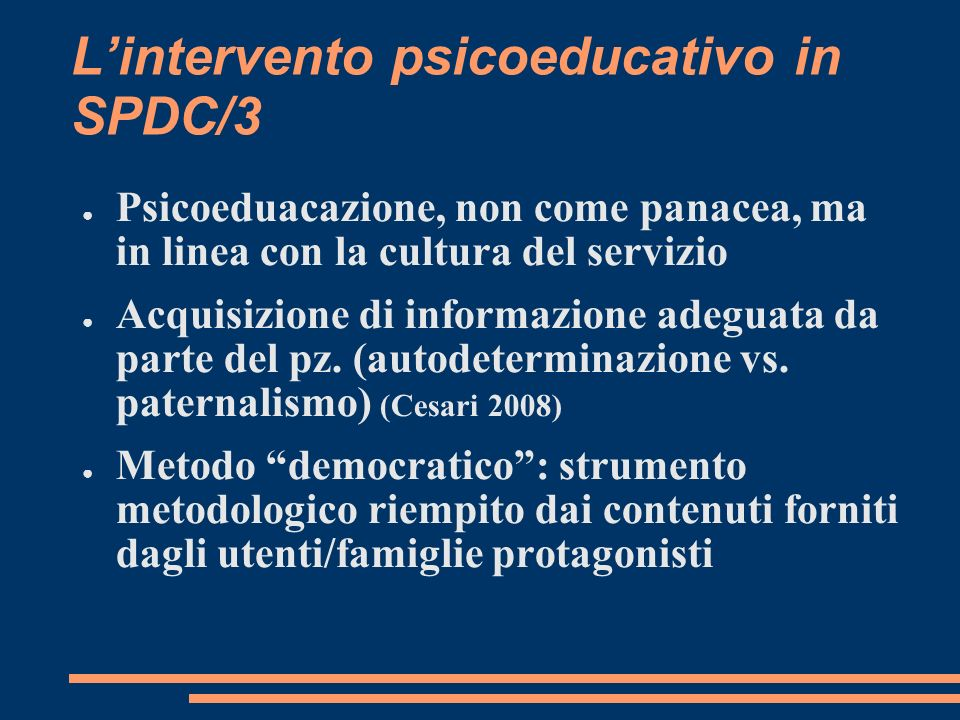 L'intervento psicoeducativo in SPDC/3