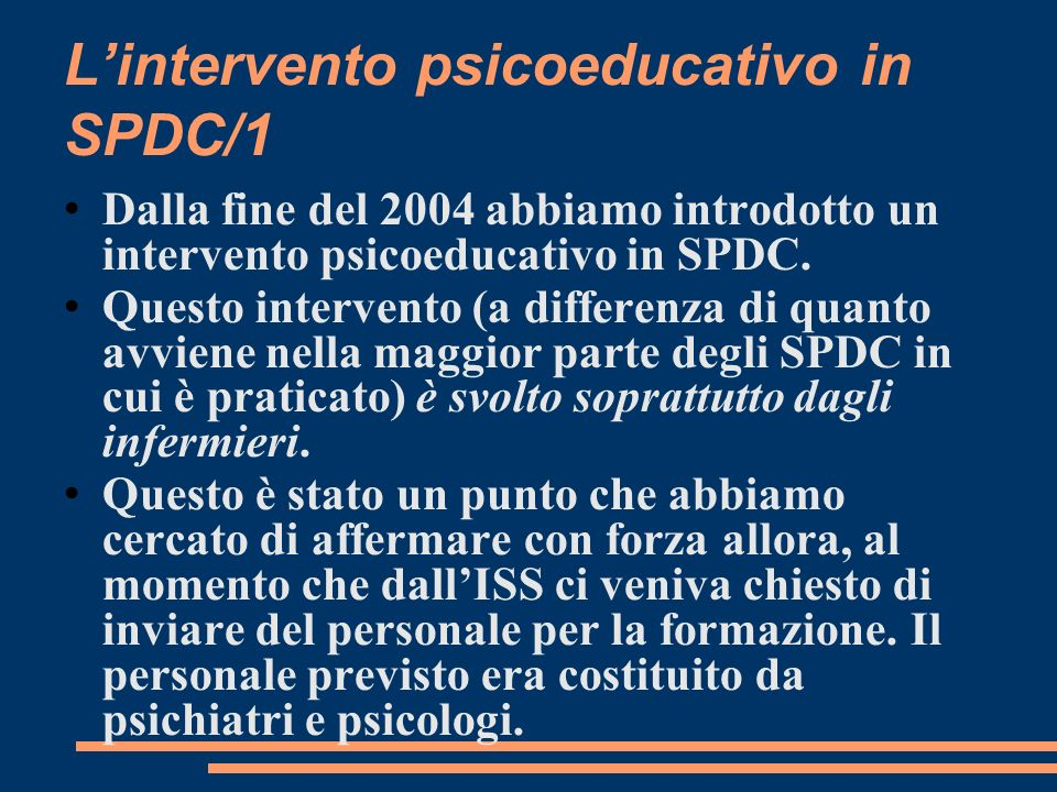 L'intervento psicoeducativo in SPDC/1