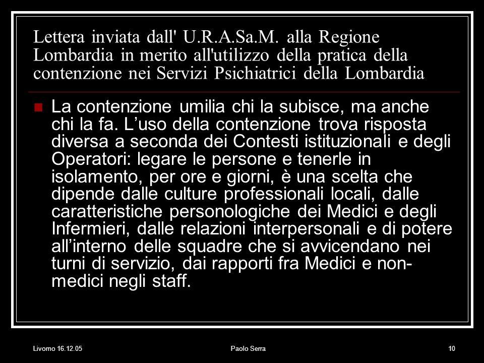 Lettera inviata dall U. R. A. Sa. M