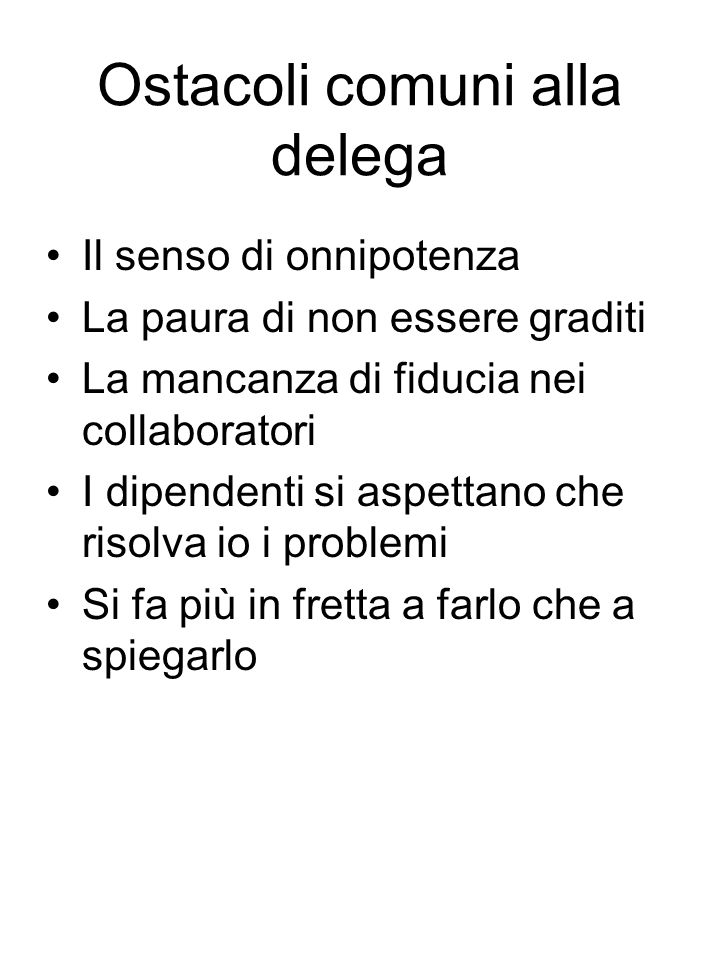 Ostacoli comuni alla delega