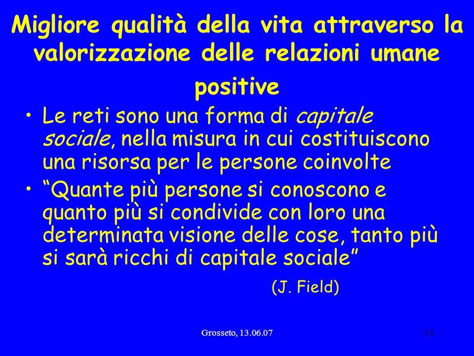 Migliore qualità della vita attraverso la valorizzazione delle relazioni umane positive