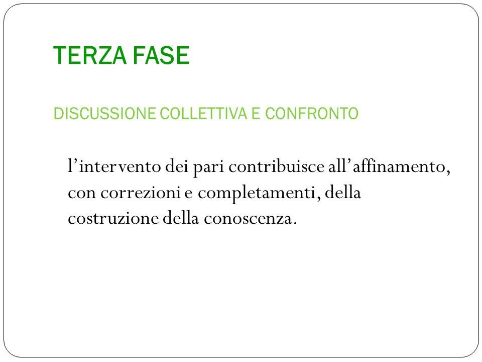 TERZA FASE DISCUSSIONE COLLETTIVA E CONFRONTO.