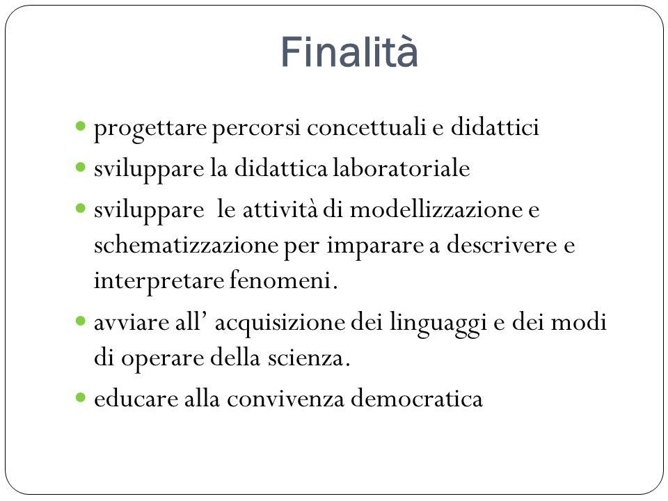 Finalità progettare percorsi concettuali e didattici
