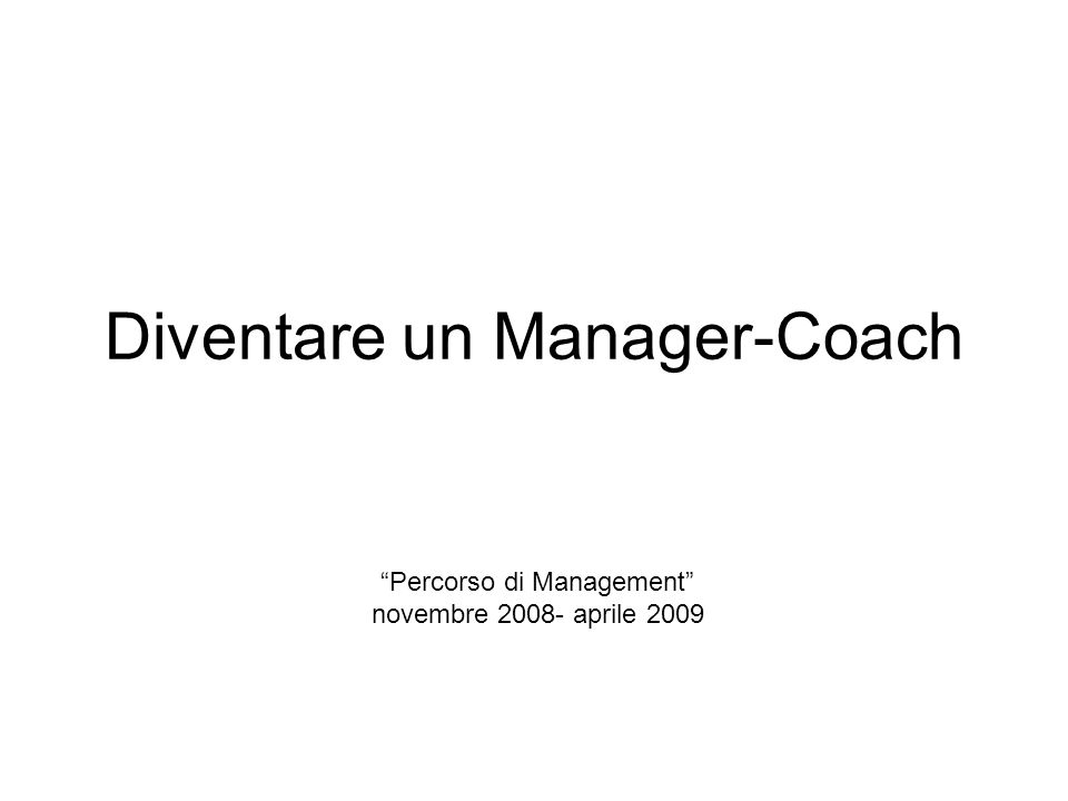 Diventare un Manager-Coach