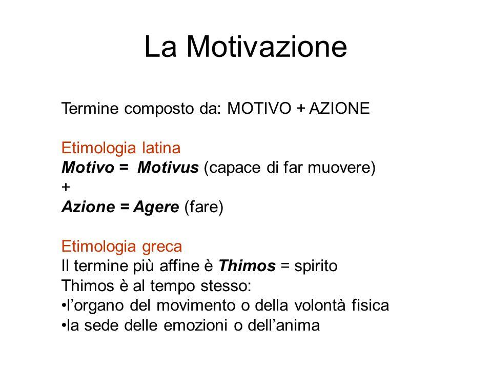 La Motivazione Termine composto da: MOTIVO + AZIONE Etimologia latina