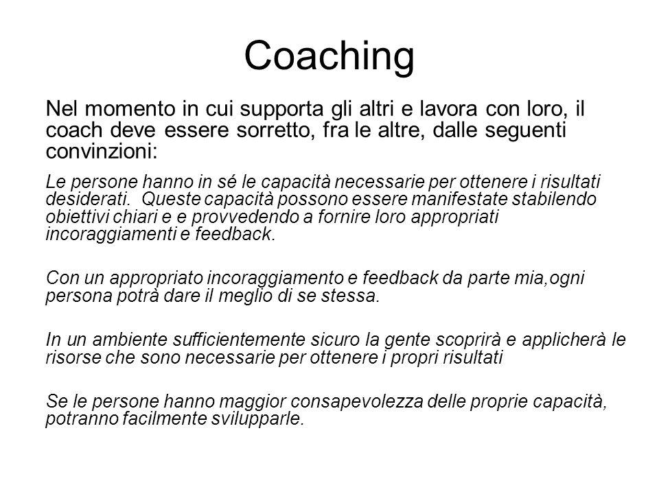 Coaching Nel momento in cui supporta gli altri e lavora con loro, il coach deve essere sorretto, fra le altre, dalle seguenti convinzioni: