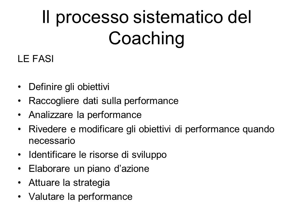 Il processo sistematico del Coaching