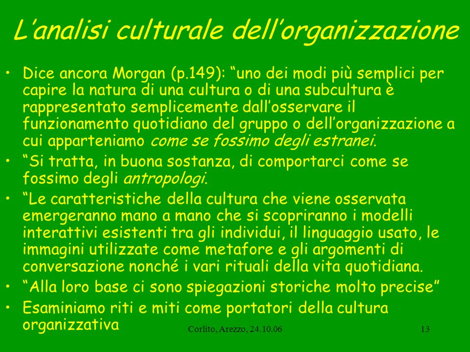 L'analisi culturale dell'organizzazione