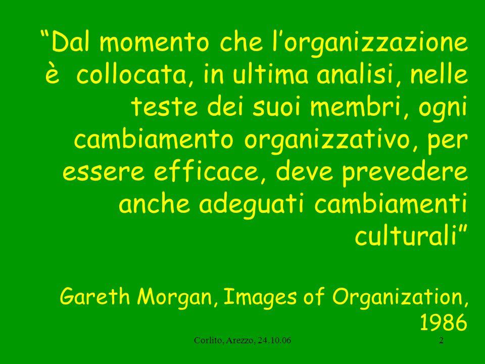 Dal momento che l'organizzazione è collocata, in ultima analisi, nelle teste dei suoi membri, ogni cambiamento organizzativo, per essere efficace, deve prevedere anche adeguati cambiamenti culturali Gareth Morgan, Images of Organization, 1986