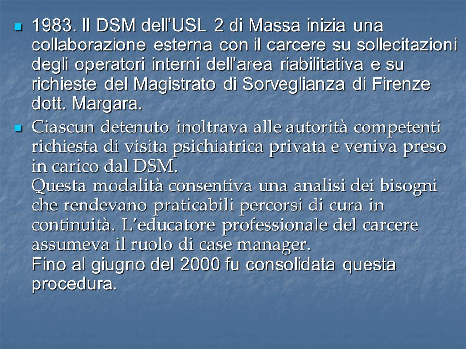 1983. Il DSM dell'USL 2 di Massa inizia una collaborazione esterna con il carcere su sollecitazioni degli operatori interni dell'area riabilitativa e su richieste del Magistrato di Sorveglianza di Firenze dott. Margara.