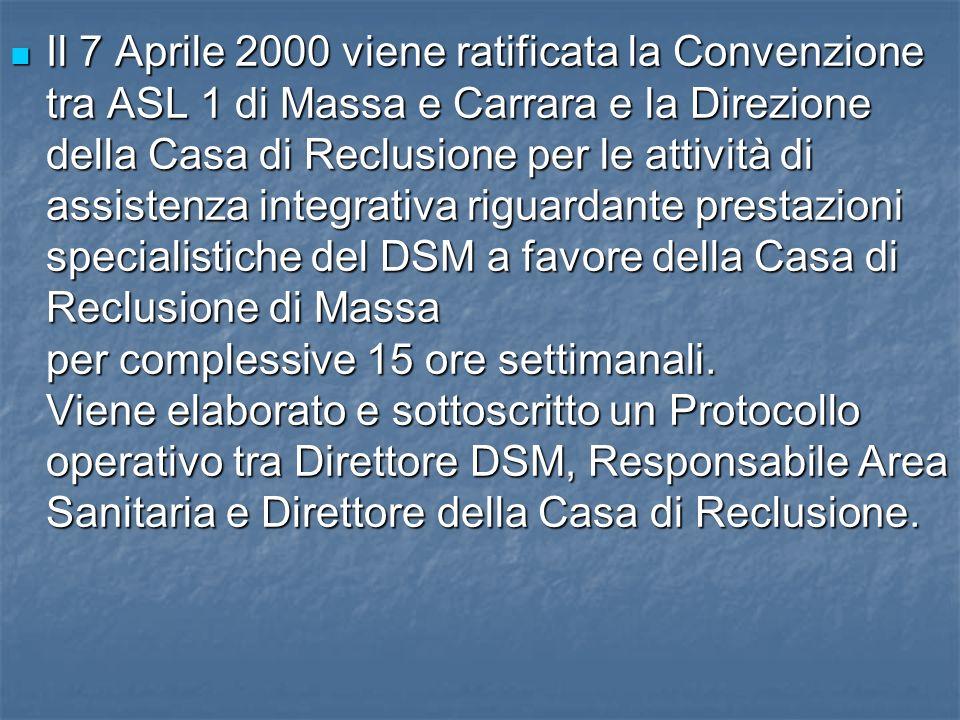 Il 7 Aprile 2000 viene ratificata la Convenzione tra ASL 1 di Massa e Carrara e la Direzione della Casa di Reclusione per le attività di assistenza integrativa riguardante prestazioni specialistiche del DSM a favore della Casa di Reclusione di Massa per complessive 15 ore settimanali.