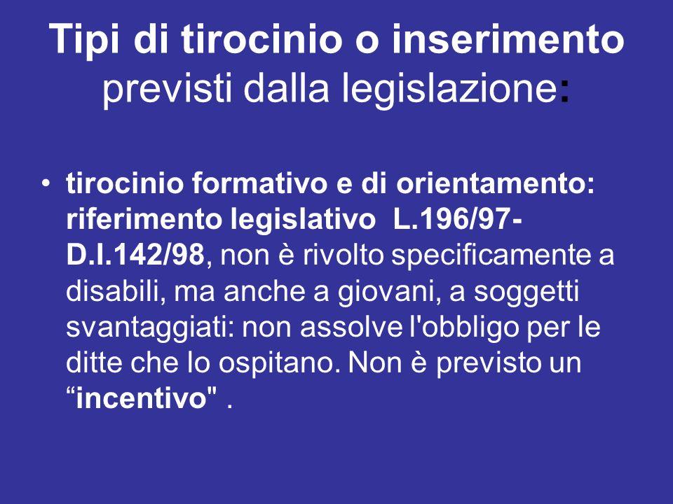 Tipi di tirocinio o inserimento previsti dalla legislazione: