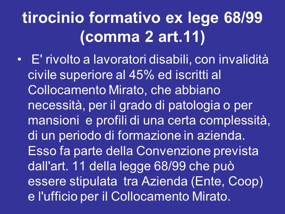 tirocinio formativo ex lege 68/99 (comma 2 art.11)