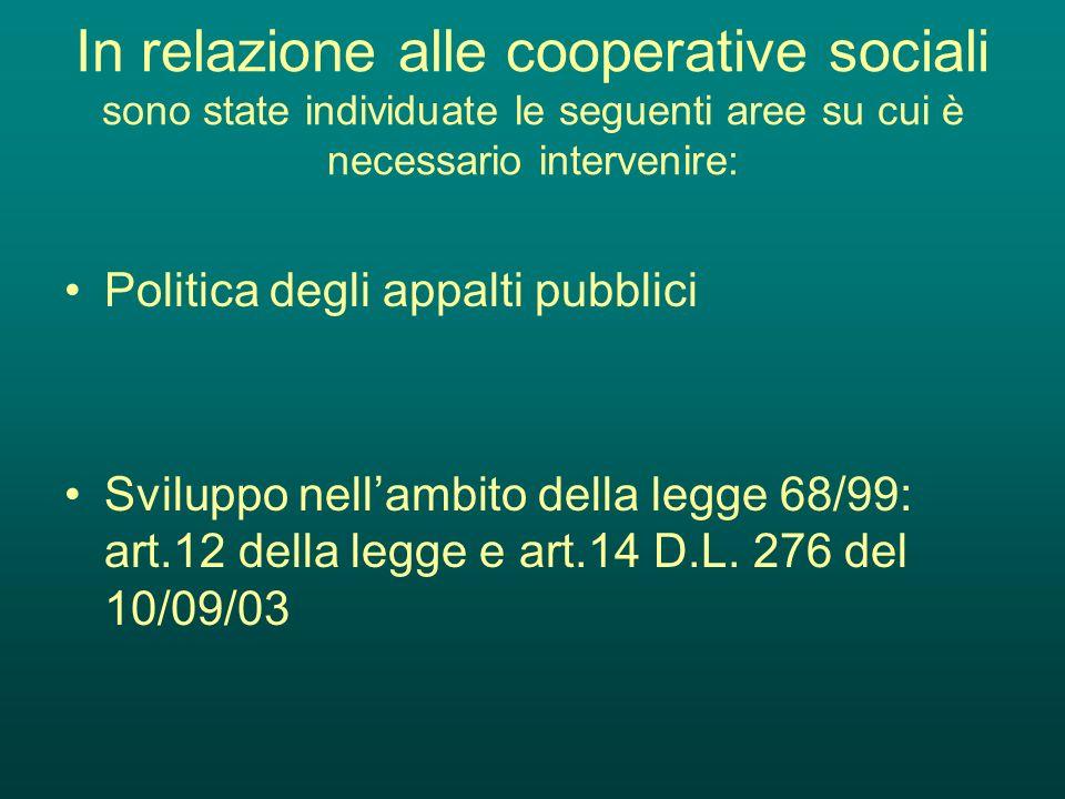In relazione alle cooperative sociali sono state individuate le seguenti aree su cui è necessario intervenire: