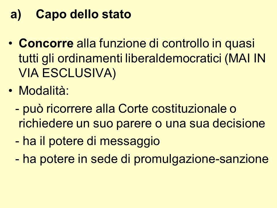 Capo dello statoConcorre alla funzione di controllo in quasi tutti gli ordinamenti liberaldemocratici (MAI IN VIA ESCLUSIVA)