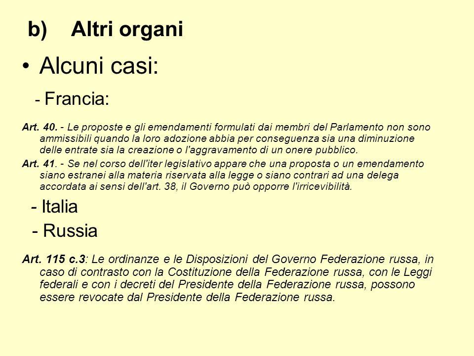 Alcuni casi: - Francia: Altri organi - Russia - Italia