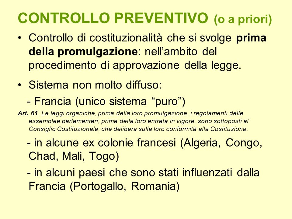 CONTROLLO PREVENTIVO (o a priori)