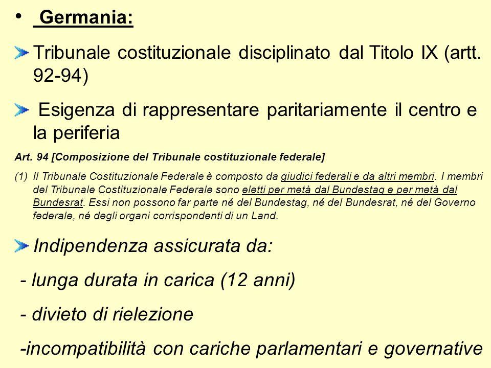 Germania:Tribunale costituzionale disciplinato dal Titolo IX (artt. 92-94) Esigenza di rappresentare paritariamente il centro e la periferia.