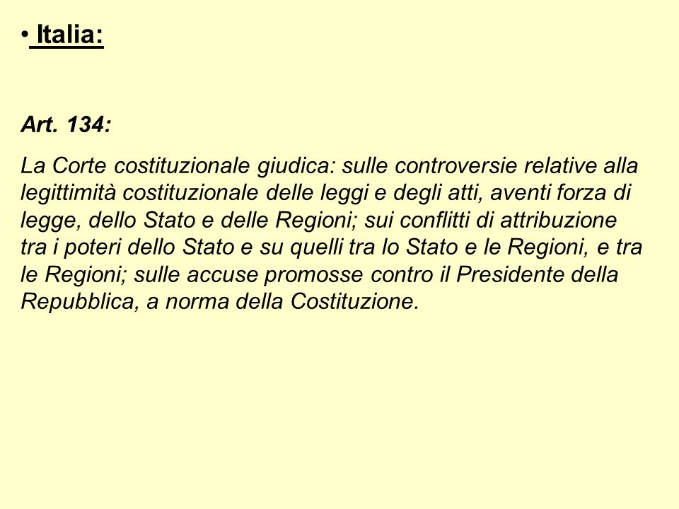 Italia: Art. 134:
