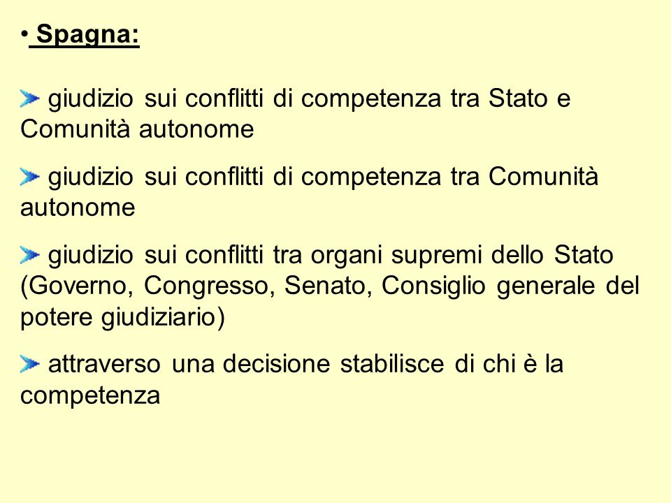 Spagna:giudizio sui conflitti di competenza tra Stato e Comunità autonome. giudizio sui conflitti di competenza tra Comunità autonome.