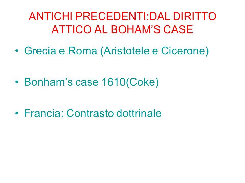 ANTICHI PRECEDENTI:DAL DIRITTO ATTICO AL BOHAM'S CASE
