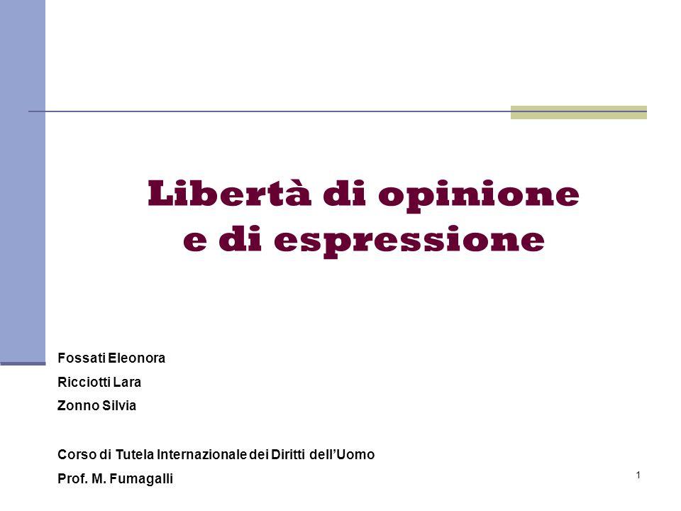 Libertà di opinione e di espressione
