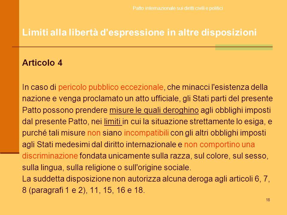 Limiti alla libertà d'espressione in altre disposizioni