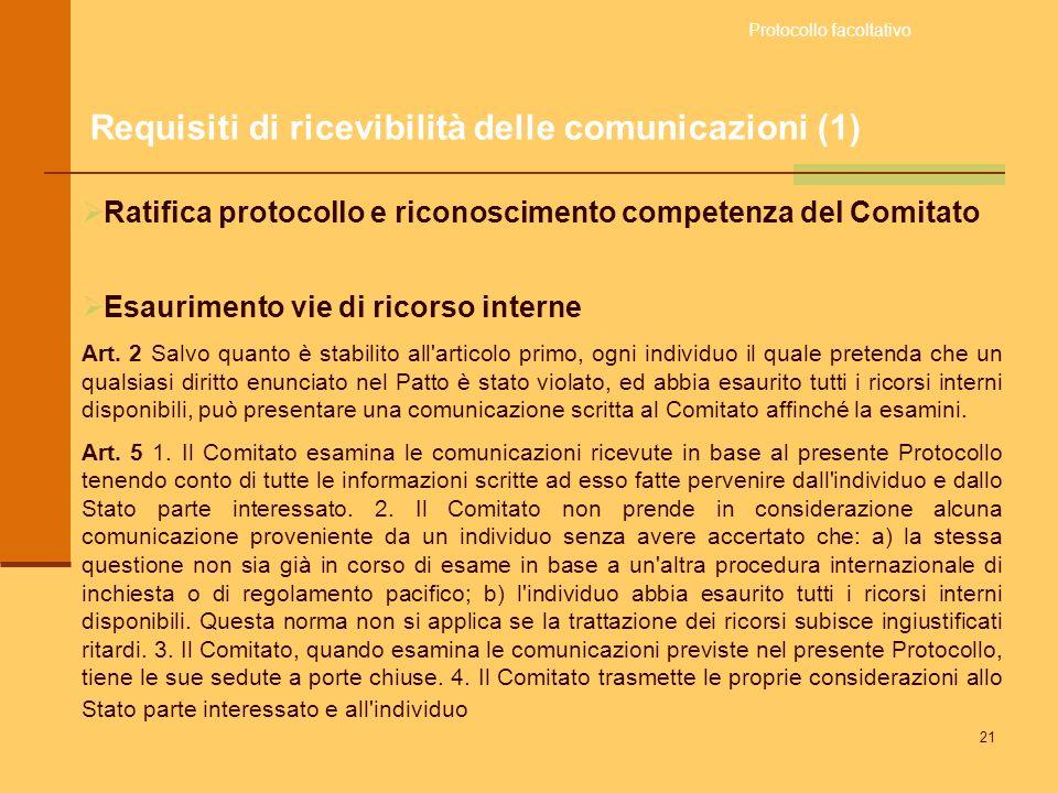 Requisiti di ricevibilità delle comunicazioni (1)
