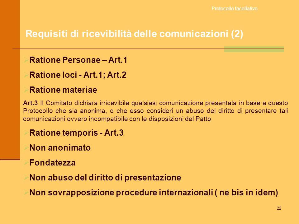 Requisiti di ricevibilità delle comunicazioni (2)