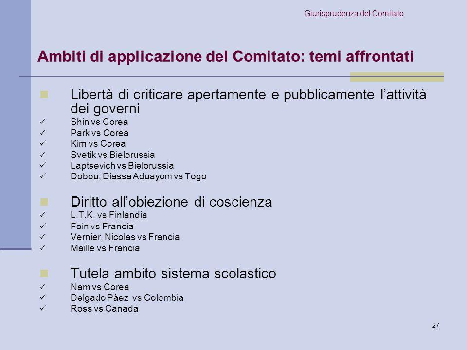 Ambiti di applicazione del Comitato: temi affrontati