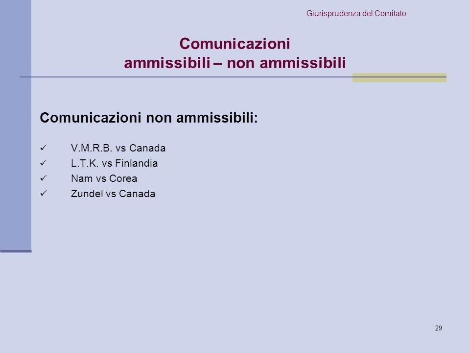 Comunicazioni ammissibili – non ammissibili