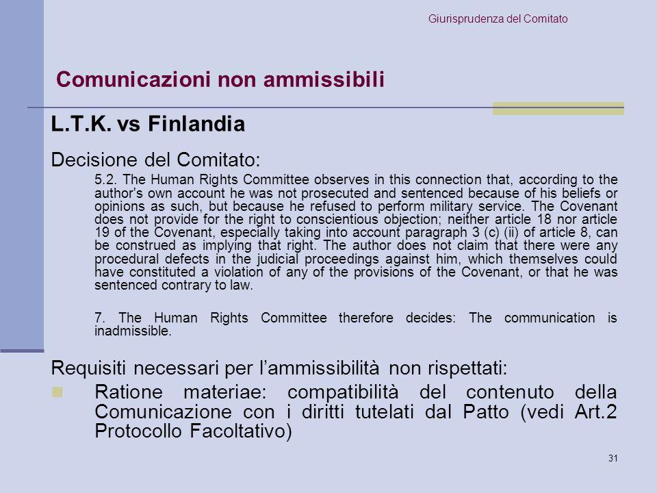 Comunicazioni non ammissibili