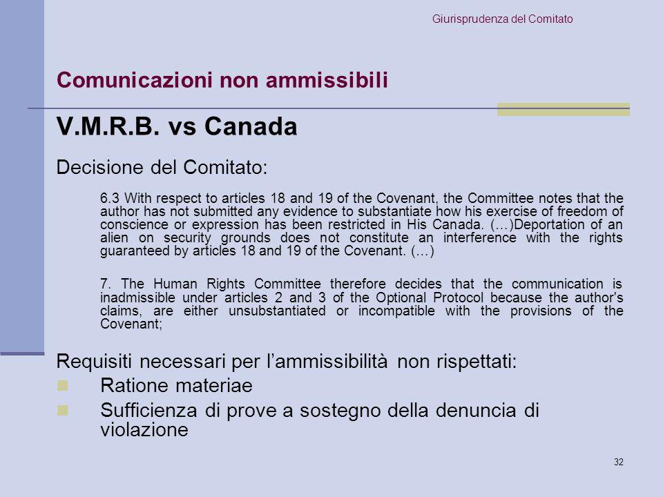 V.M.R.B. vs Canada Comunicazioni non ammissibili
