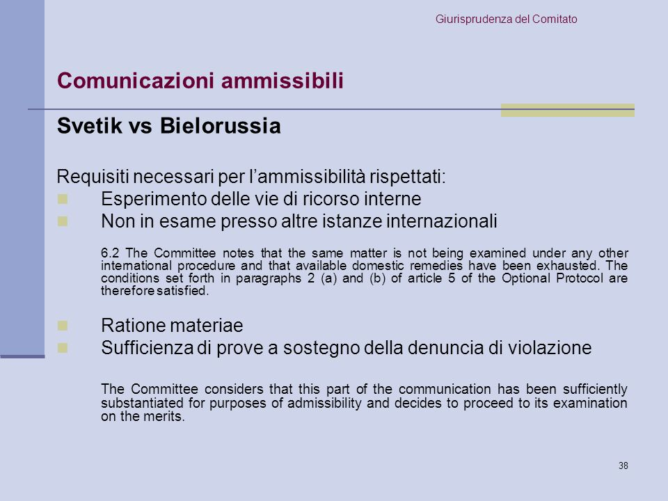 Comunicazioni ammissibili