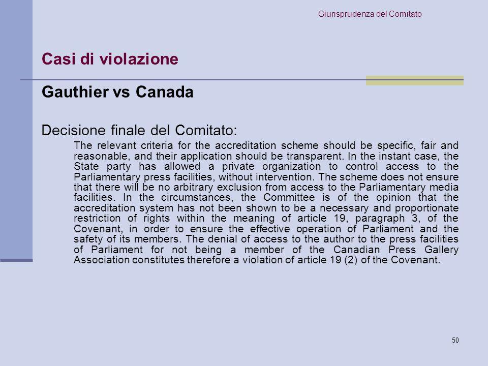 Casi di violazione Gauthier vs Canada Decisione finale del Comitato: