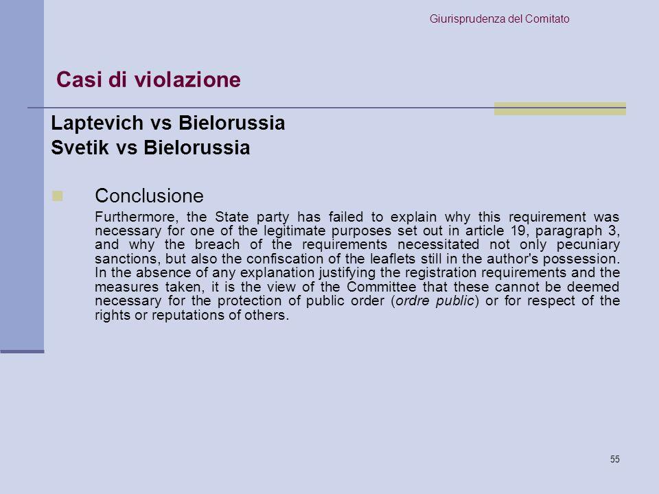 Casi di violazione Laptevich vs Bielorussia Svetik vs Bielorussia