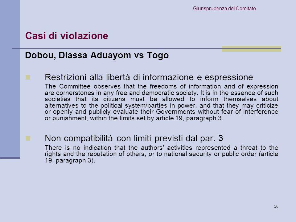 Casi di violazione Dobou, Diassa Aduayom vs Togo