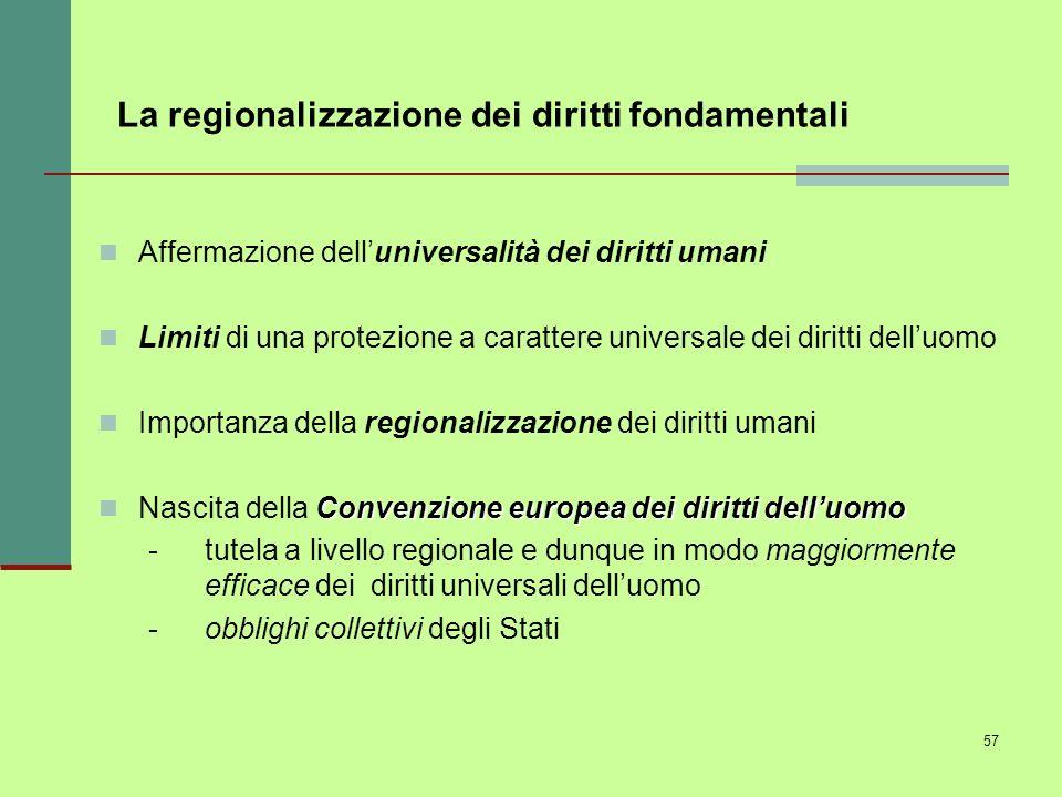 La regionalizzazione dei diritti fondamentali