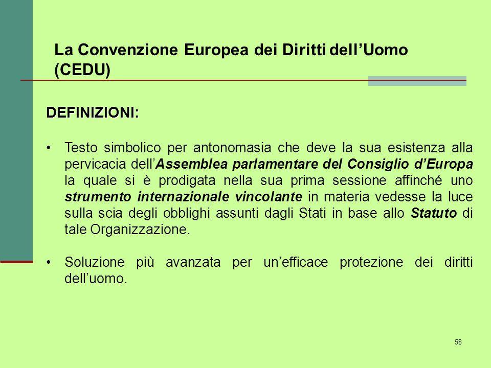 La Convenzione Europea dei Diritti dell'Uomo (CEDU)