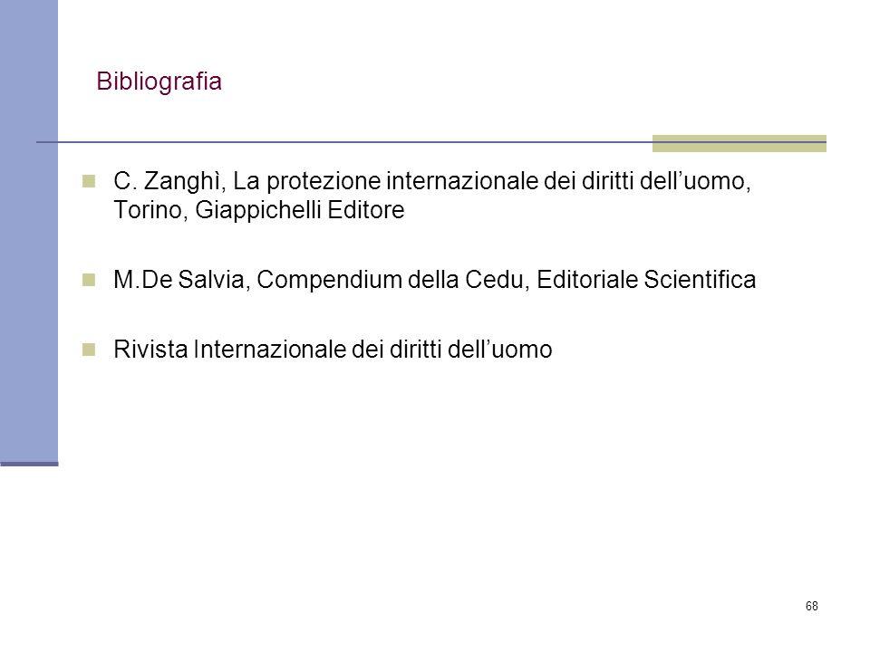 Bibliografia C. Zanghì, La protezione internazionale dei diritti dell'uomo, Torino, Giappichelli Editore.